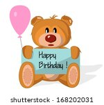 bear toy with congratulation on ... | Shutterstock . vector #168202031