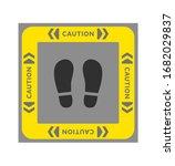 """caution"" footprint stickers.... | Shutterstock .eps vector #1682029837"