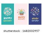 Set Of Birthday Cards. Vecton...