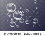realistic white water bubbles... | Shutterstock .eps vector #1682048851