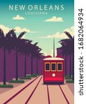 Poster New Orleans landscape. New-Orleans vector illustration.