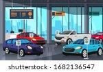 cartoon car showroom center...   Shutterstock .eps vector #1682136547