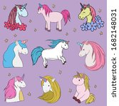 cute unicorn with a different... | Shutterstock .eps vector #1682148031