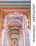 Small photo of The Patrika Gate, the ninth gate of Jaipur, the colourful famous building landmark at Jawahar circle's entrance, Jaipur or pink city Rajasthan, India.