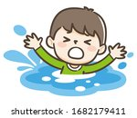 young boy drowning in water....   Shutterstock .eps vector #1682179411