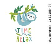 vector illustration with sloth... | Shutterstock .eps vector #1682188474