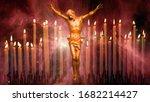 Blurred Cross  Jesus Christ ...