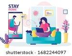 businesswoman freelancer at... | Shutterstock .eps vector #1682244097