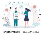 woman washes hands thoroughly... | Shutterstock .eps vector #1682248261