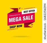 simple clean pink mega sale... | Shutterstock .eps vector #1682256094