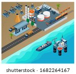 oil and gas refinery concept 3d ... | Shutterstock .eps vector #1682264167