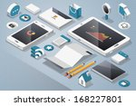 technology and social media ... | Shutterstock .eps vector #168227801