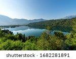 Lago di Levico, small beautiful lake in Italian Alps, Levico Terme town, Valsugana valley, Trento province, Trentino Alto Adige, Italy, Europe