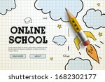 online school. digital internet ... | Shutterstock .eps vector #1682302177