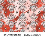 Floral Tile Pattern With Color...