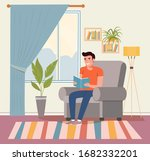 happy young man is relaxing on...   Shutterstock .eps vector #1682332201