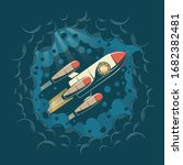 space rocket flying through a... | Shutterstock .eps vector #1682382481