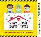 covid 19 quarantine campaign of ... | Shutterstock .eps vector #1682390734