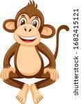 cute monkey on white background ... | Shutterstock .eps vector #1682415121