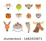 big set with cute funny animals ... | Shutterstock .eps vector #1682424871