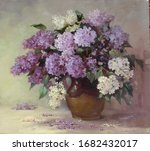 bouquet of lilacs in a ceramic vase,handmade painting,fine art, oil painting, still life, mastery, gray background, leaves, flowers