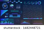blue violet vector hud set in...