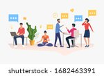 people working in modern office.... | Shutterstock . vector #1682463391