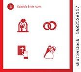 4 Bride Filled Icons Set...