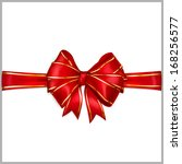 bow of red wide ribbon with... | Shutterstock .eps vector #168256577