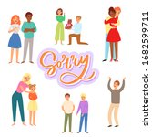 sorry and apologizing  exuse me ... | Shutterstock .eps vector #1682599711