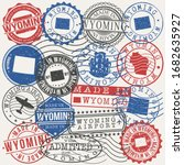 wyoming  usa set of stamps.... | Shutterstock .eps vector #1682635927