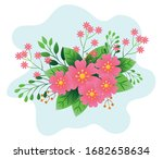 decoration of flowers pink... | Shutterstock .eps vector #1682658634