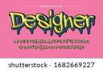 yellow dripping graffiti style...   Shutterstock .eps vector #1682669227
