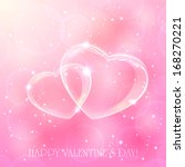 two shinny hearts on pink... | Shutterstock .eps vector #168270221