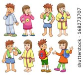 illustration of boy and girl... | Shutterstock .eps vector #168273707
