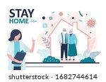 stay home banner. female doctor ... | Shutterstock .eps vector #1682744614