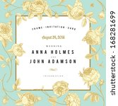 vector vintage wedding card.... | Shutterstock .eps vector #168281699