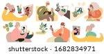 elderly people getting medical... | Shutterstock .eps vector #1682834971