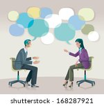 a man and a woman sitting  talk ... | Shutterstock .eps vector #168287921
