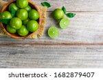 Top View Of Fresh Citrus Lemon...