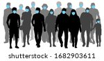 group of people wearing medical ... | Shutterstock .eps vector #1682903611