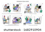 working remotely. work from...   Shutterstock .eps vector #1682910904