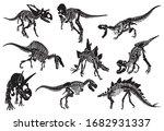 graphical set of dinosaur... | Shutterstock .eps vector #1682931337