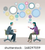 a man and a woman sitting  talk ... | Shutterstock .eps vector #168297059
