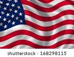 usa flag fluttering on a wind | Shutterstock . vector #168298115
