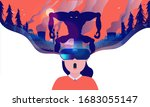 virtual reality horror   woman... | Shutterstock .eps vector #1683055147