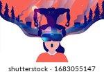 virtual reality horror   woman... | Shutterstock .eps vector #1683055147