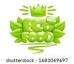 eco food icon with green leaves ... | Shutterstock .eps vector #1683069697