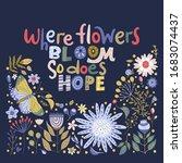 floral color vector lettering... | Shutterstock .eps vector #1683074437