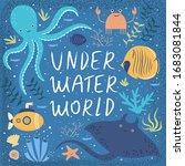 underwater world  vector cute... | Shutterstock .eps vector #1683081844